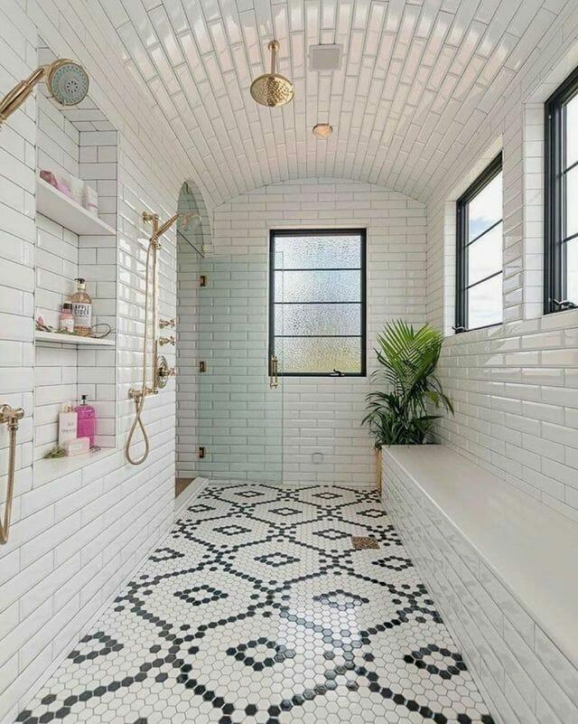 Penny Tile Bathroom Flooring - LittleBlackBookOfInteriors