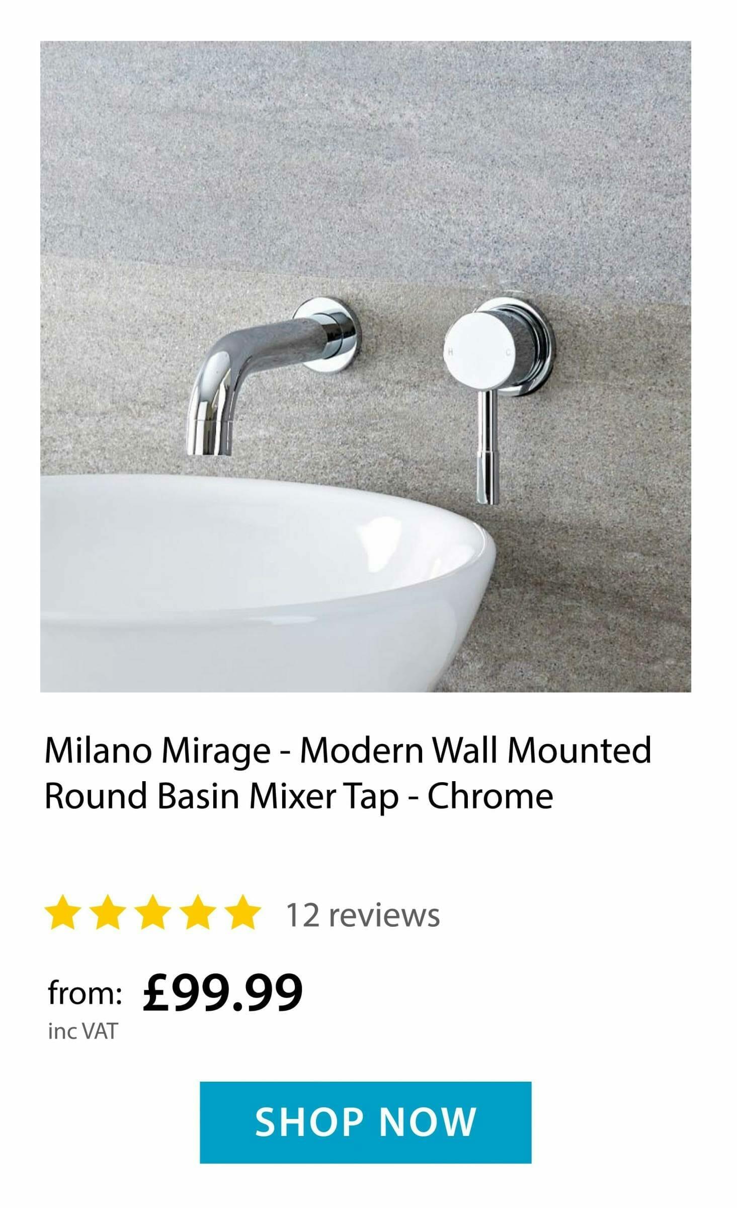 Milano Mirage - Wall Mounted Round Basin Mixer Tap